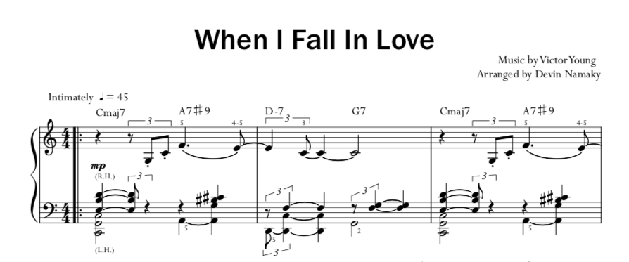 """When I Fall In Love"""" for Jazz Piano Solo – Namaky Music"""